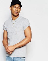 Asos Roll Sleeve Polo With Zip Pocket In Grey Grey Marl