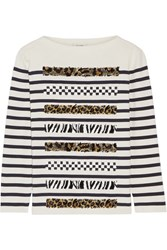 Marc Jacobs Embellished Striped Cotton And Cashmere Blend Sweater Cream