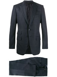 Tom Ford Micro Check Print Suit Blue