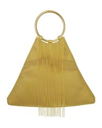 Whiting And Davis Triangle Fringe Clutch Bag Gold