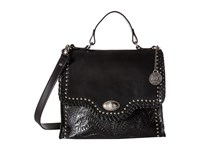 American West Hidalgo Top Handle Convertible Flap Bag Black Top Handle Handbags