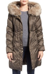 Via Spiga Women's Water Repellent Quilted Puffer Coat With Faux Fur Trim Pecan Shell