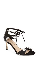Women's Via Spiga 'Skylar' Open Toe Dress Sandal Black White Fabric
