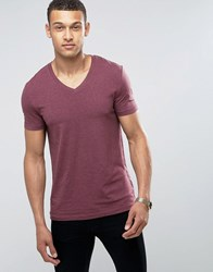Asos Muscle Fit T Shirt With V Neck And Stretch In Red Kidney Marl