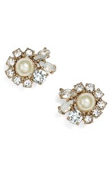 Women's Marchesa Crystal And Faux Pearl Stud Earrings Mint Gold