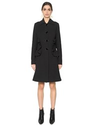 Marni Ruffled Pockets Cotton Blend Crepe Coat