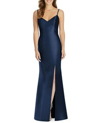 Alfred Sung V Neck Spaghetti Strap Sateen Twill Gown Bridesmaid Dress With Slit Midnight