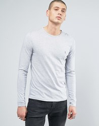 Allsaints Long Sleeve Top With Logo Grey Marl