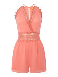 Lipsy Lace Playsuit Coral