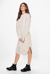 Boohoo Oversized Cable Knit Jumper Dress Beige