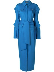 Capucci Belted Wrap Dress Women Virgin Wool Silk Spandex Elastane Polyester 44 Blue
