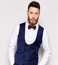 Noose And Monkey Navy Flannel Vest With Stretch In Super Skinny Fit Blue