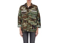 Ottotredici Women's Embellished Camouflage Cotton Field Jacket Green Dark Green