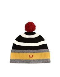 Fred Perry Striped Bobble Hat Black