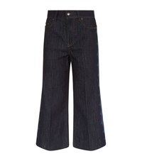 Red Valentino Scallop Detail Wide Leg Jeans Blue