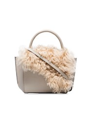 Atp Atelier White Montalcino Shearling Embellished Leather Crossbody