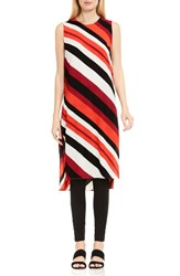 Vince Camuto Women's Nautical Bands Side Slit Tunic Dynamic Red
