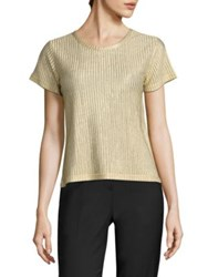 Each X Other Metallic Rib Knit Tee Gold