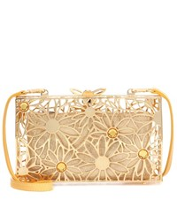 Charlotte Olympia Pandora In Bloom Metal Clutch Gold