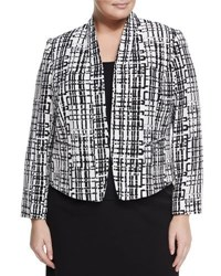 Tahari Asl Plus Geometric Textured Knit Jacket White Black
