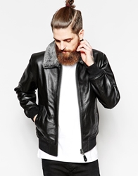 Schott Leather Jacket With Faux Fur Collar Black