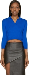 Vetements Blue Cropped Polo Sweater
