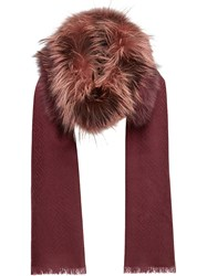 Fendi Touch Of Fur Stole Fox Fur Cashmere Wool Brown