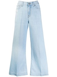 7 For All Mankind Cropped Flared Denim Jeans Blue