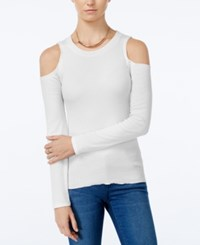 Planet Gold Juniors' Rib Knit Cold Shoulder Top Egret
