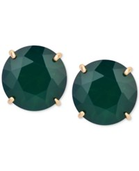 T Tahari Gold Tone Emerald Stone Clip On Stud Earrings