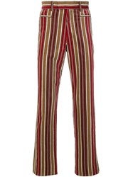 Jean Paul Gaultier Vintage Velvety Striped Trousers Red
