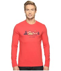 Life Is Good Tent Landscape Long Sleeve Crusher Tee Americana Red Men's T Shirt