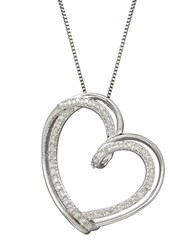 Lord And Taylor Red Box Gallery Sterling Silver Diamond Heart Pendant Necklace Diamond Silver