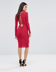 Club L Ruched Detail Midi Dress With Criss Cross Back Red Berry 167