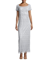 Laundry By Shelli Segal Short Sleeve Lace Gown Metallic Silver