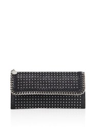 Stella Mccartney Studded Faux Leather Continental Flap Wallet Black