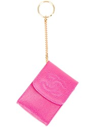 Chanel Vintage Cc Logo Pouch Keyring Pink Purple