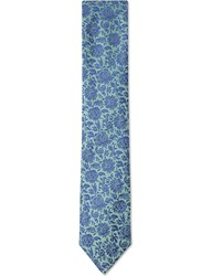Duchamp Classical Floral Silk Tie Green