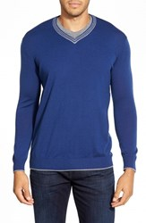Men's Bugatchi Contrast Trim V Neck Sweater Night Blue