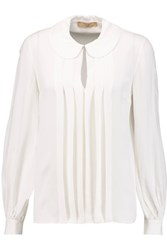 Michael Kors Collection Pleated Silk Georgette Blouse White
