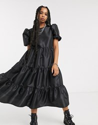 Milk It Vintage Oversized Smock Dress With Balloon Sleeves And Open Back In Taffeta Black