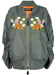 Junya Watanabe Ruched Sleeve Embroidered Floral Bomber Jacket Green