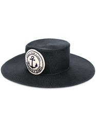 Natasha Zinko Wide Brim Logo Patch Hat Black