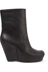 Rick Owens Textured Leather Wedge Ankle Boots Black