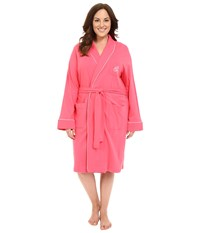 Lauren Ralph Lauren Plus Size Essentials Quilted Collar And Cuff Robe Coral Women's Robe