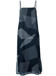Dkny Sleeveless Dress With Embroidered Stripes Blue