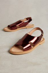 Anthropologie Vanessa Wu Metallic Plum Sandals Wine