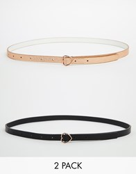 Asos 2 Pack Heart Buckle Belts Multi