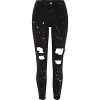 River Island Womens Black Ripped Paint Alannah Relaxed Fit Jeans