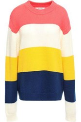 Chinti And Parker Woman Color Block Wool Cashmere Blend Sweater Coral